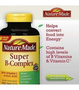Nature Made ® Super B-Complex avec de la vitamine C et l'acide folique 460 comprimés