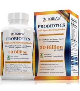 Dr. Tobias Probiotiques pour les femmes et les hommes: 30 milliards CFU, 10 Souches, retarder la libération et Spore Souches For