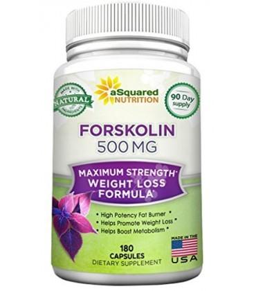 100% Pure forskoline 500mg Max Force - 180 capsules, forskoline supplément pour le carburant extrait de perte de poids, coleus f