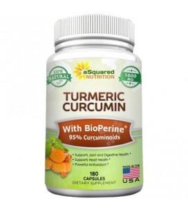 Curcuma curcumine 1600mg pur avec BioPerine Poivre Noir Extrait - 180 Capsules - 95% Curcuminoïdes 100% naturelles Tumeric poud