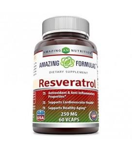 Les formules étonnantes Resveratrol 250 mg 60 Veggie Capsules - Les antioxydants et anti-inflammatoires soutient la santé card