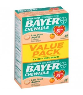 Bayer Aspirine 81mg au gout d'Orange 108 Caps