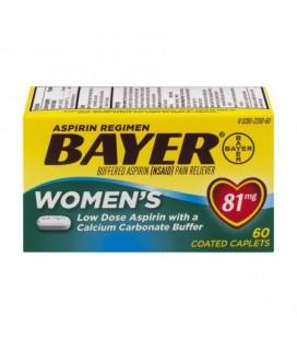 Aspirine Regimen Bayer Femmes 81mg comprimés enrobés antidouleur avec avantages de sauvetage et de 300 mg de calcium et 1 mg d