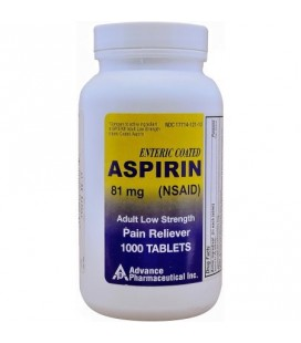 Aspirine à faible dose adulte ENROBAGE 81 mg génériques pour Bayer Aspirine à faible dose 1000 comprimés par bouteille