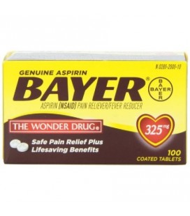 Pack de 2 Bayer Aspirine Anti douleur 325mg, 100 Caps