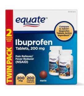 Equate Pain Relief Ibuprofen comprimés enrobés de 200 mg 100 Ct 2 Pk