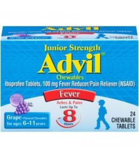 Advil Force junior Fièvre réducteur - analgésique comprimés croquables 100 mg Ibuprofen (arôme de raisin 24 Count paquet de