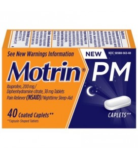 Motrin PM Caplets Ibuprofène soulagement de douleurs mineures de nuit 40 comte
