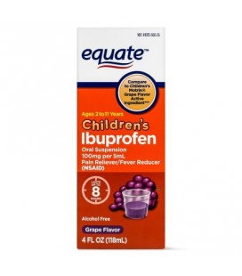 Equate Childrens Ibuprofen Suspension de raisin 100 mg 4 Oz