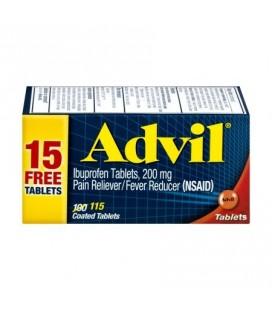 Advil (115 Count) anti-douleur - fièvre Réducteur de comprimé enrobé 200 mg Ibuprofen soulagement de la douleur temporaire
