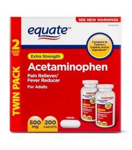 Equate Force supplémentaire acétaminophène caplets 500 mg 100 Ct 2 Pk