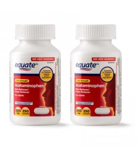 Equate acétaminophène 500 mg -250 Cap ( Pack de 2)