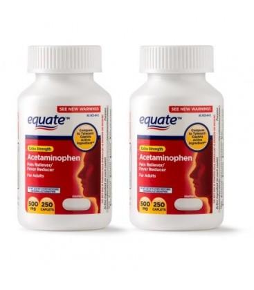 Equate Force supplémentaire acétaminophène caplets 500 mg 250 Ct 2 Pk