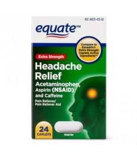 Equate Maux de tête extra Force de secours acétaminophène caplets 250 mg 24 Ct