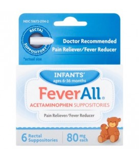 Fever All acétaminophène Suppositoires Bébé Ages 6-36 mois 80 mg 6 comptage