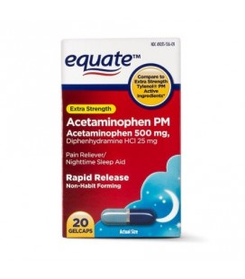 Equate Force supplémentaire PM Acetaminophen Gelcaps à action rapide 500 mg 20 Ct