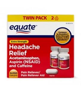Equate Maux de tête de secours Acétaminophène aspirine et caféine Extra Strength Twin Pack 200 Caplets