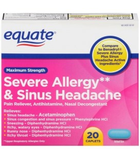 Equate Force maximale Allergie sévère et Sinus Maux de tête Acetaminophen Caplets 325 mg 20 Ct