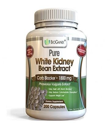 100% pur Bean rein blanc extrait au service 1800mg (200 Capsules) Meilleur teneur en glucides et Fat Blocker et amidon supplémen