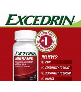 600 Caplets Excedrin Migraine Acétaminophène Aspirine La caféine Analgésique l'aide