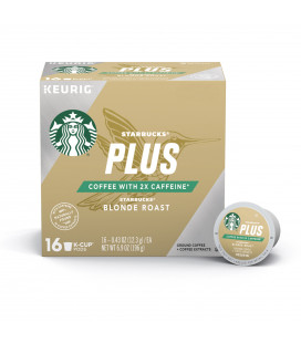 Starbucks Café plus Blonde Roast 2X caféine simple tasse de café pour Keurig Brewers une boîte de 16 (16 Total K-Cup pods)