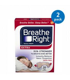 (2 Pack) Breathe Right bandes nasales pour arrêter de ronfler sans drogue Tan supplémentaire 26 count