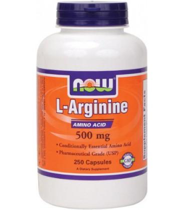 NOW Foods Arginine 500mg, 250 Capsules