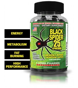 Black Spider 25 mg Ephedra - 100 capsules