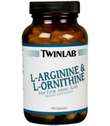 Twinlab L-Arginine and L-Ornithine, 100 Capsules (Pack of 2)