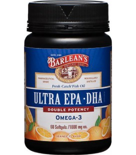 Barlean's Organic Oils Fresh Catch Fish Oil, ULTRA EPA-DHA, Orange Flavor 1000 mg, 60 Softgels