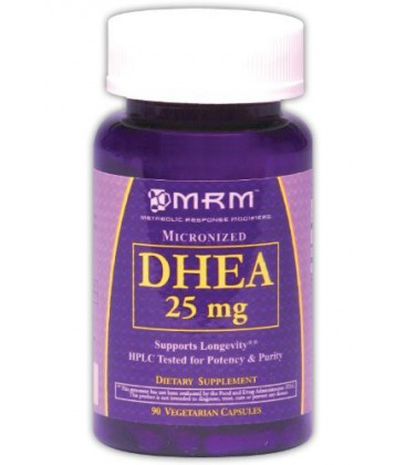MRM DHEA Nutrition Vitamines, 25 mg, 90 Count, Vegetarian Capsules, emballages peuvent différer