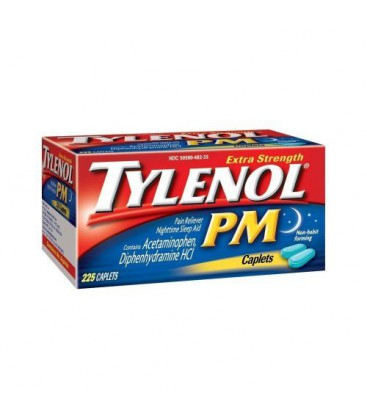 Tylenol PM Extra Strength Pain Reliever + Sleep Aid, 225-Cap