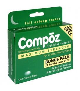 Compoz Nighttime Sleep Aid, Maximum Strength, Soft Gel Liqui