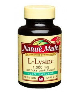 Nature Made L-Lysine 1000mg, 60 Tablets (Pack of 3)