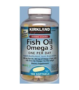 Kirkland Signature Enteric Coated Fish Oil Omega 3 1200 MG Fish Oil, 684 MG of Omega 3 Fatty Acids, 180 softgels