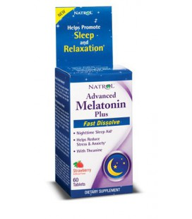 Natrol Advanced Melatonin Plus Sleep Aid, Strawberry, Fast Dissolve Tablets, 60 Count
