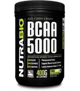 NutraBio BCAA 5000 Powder - 500 Grams