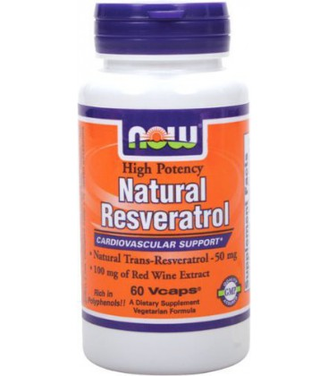 NOW Foods Natural Resveratrol 50mg, 60 Vcaps