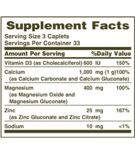 Nature's Bounty Calcium-magnesium-zinc Caplets, 100-Count