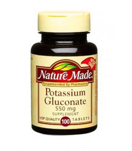 Nature Made Potassium Gluconate 550mg, 100 Tablets (Pack of