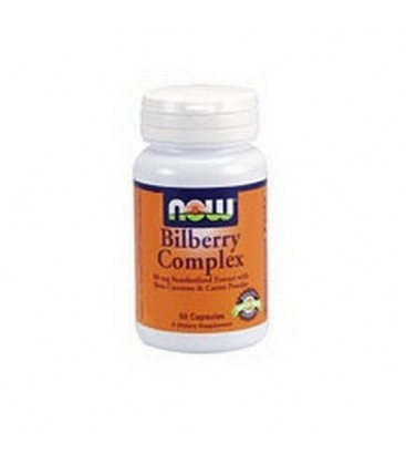NOW Foods Bilberry Complex with Beta Carotene, 100 Capsules