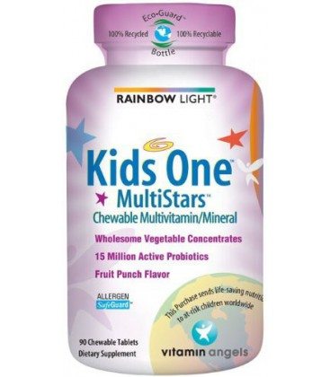 Rainbow Light Kids One MultiStars, Fruit Punch, Chewable Tab