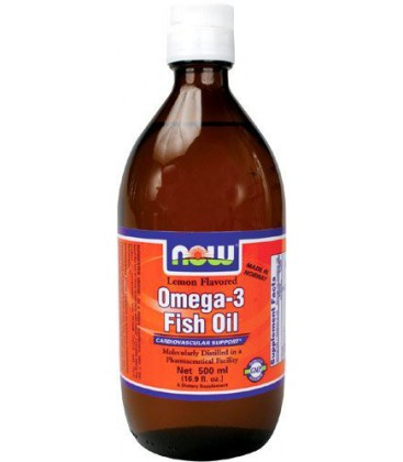 Now Foods Omega - 3 Fish Oil, Lemon Flavor, 500ml - 16.9 Oz