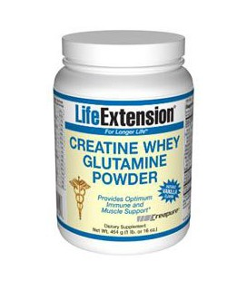 Life Extension Creatine-Whey-Glutamine Powder, Vanilla, 1 Pound