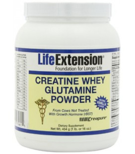 Life Extension Creatine Whey Glutamine Powder, Vanilla, 1 Pound