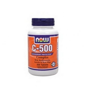 NOW Foods C-500 Complex with Bioflavonoids, Acerola and Rosehips 250 Tablets,  (Pack of 2)