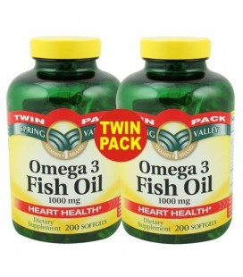 Spring Valley - Huile de poisson Omega-3, 1000 mg, 400 Softgels, Pack de 2