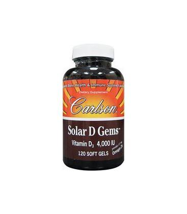 Carlson Labs Solar D Gems Natural Vitamin D3, 4000 IU, 120 S