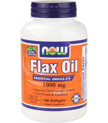 NOW Foods Flax Oil 1000mg, 100 Softgels (Pack of 3)