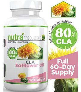 CLA Safflower Oil 1000 mg per softgel by NutraHouse Vitamins. 120 Softgels, 80% Active Conjugated Linoleic Acid. Reduces belly